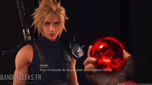 Final Fantasy VII Remake Jessie donne une matéria invocation à Cloud