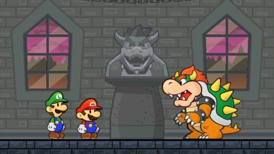 Super Paper Mario Bowser discute avec Luigi et Mario