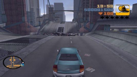 GTA III voiture devant pont brisé