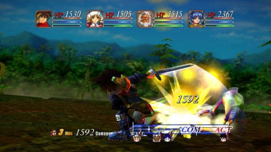 Grandia II Ryudo découpe un ennemi
