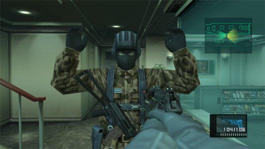 Metal Gear Solid 2 Snake braque un soldat