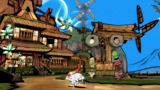Okami Amaterasu coure dans un village