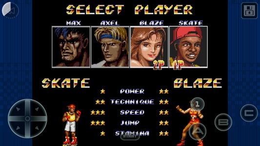 Streets of Rage II écran de sélection des personnages