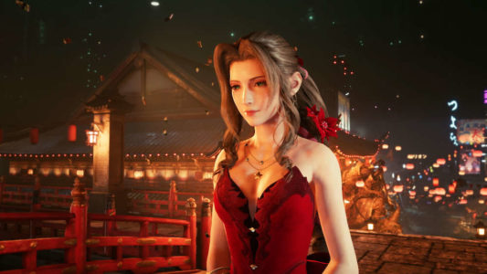 Aerith en robe rouge à Wall Market