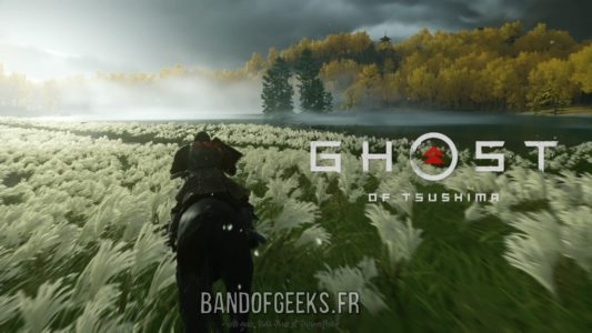 Ghost of Tsushima Jin galope dans un champ