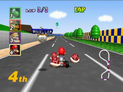 Mario Kart 64 Mario avec 3 carapaces rouges