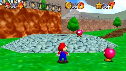 Super Mario 64 Mario dans le premier niveau entouré de bob-omb roses
