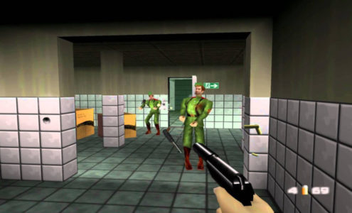Goldeneye 007 N64 James Bond tire sur des gardes