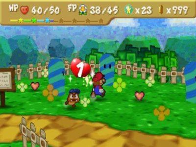 Paper Mario N64 Mario et Goomba se baladent