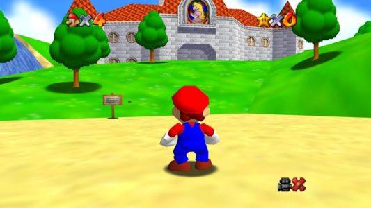 Super Mario 64 Mario se balade dans le jardin du château