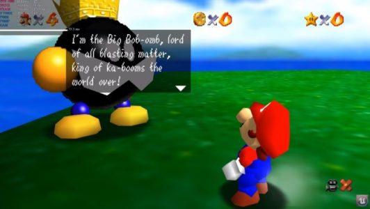 Super Mario 64 Mario parle avec le roi Bob-omb