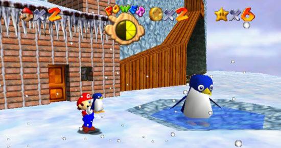 Super Mario 64 Mario ramène le bébé pingouin à sa mère