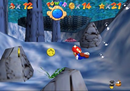 Super Mario 64 Mario nage sous l'eau
