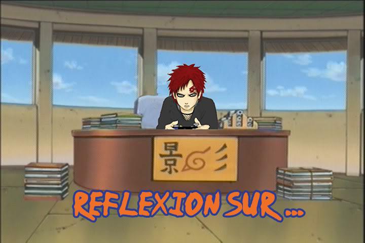 Réflexion sur logo avec Gaara de Naruto qui joue à la console à son bureau