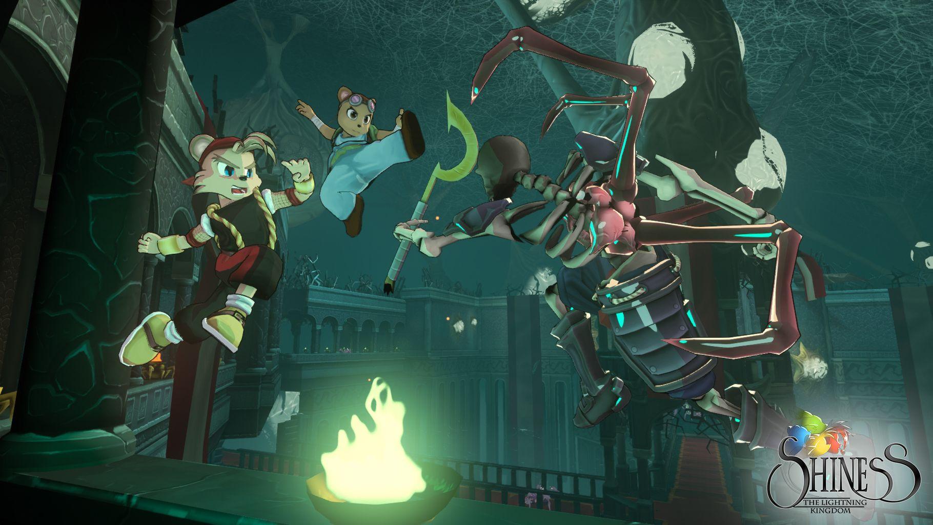 Shiness - The Lightning Kingdom les héros affrontent un squelette géant