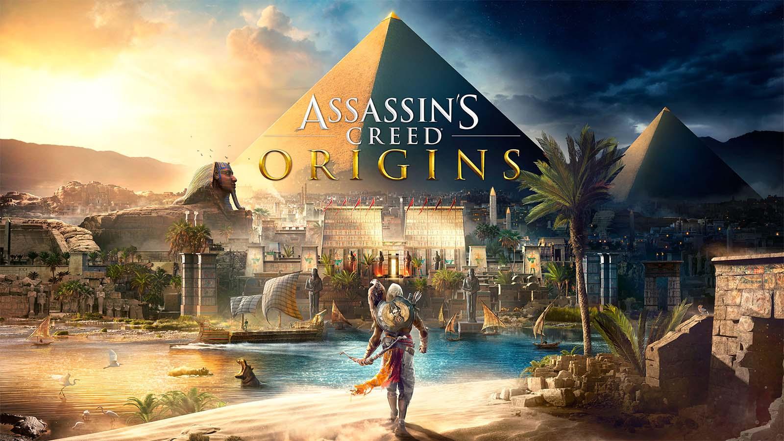 Assassin's Creed Origins logo avec Bayek devant une pyramide
