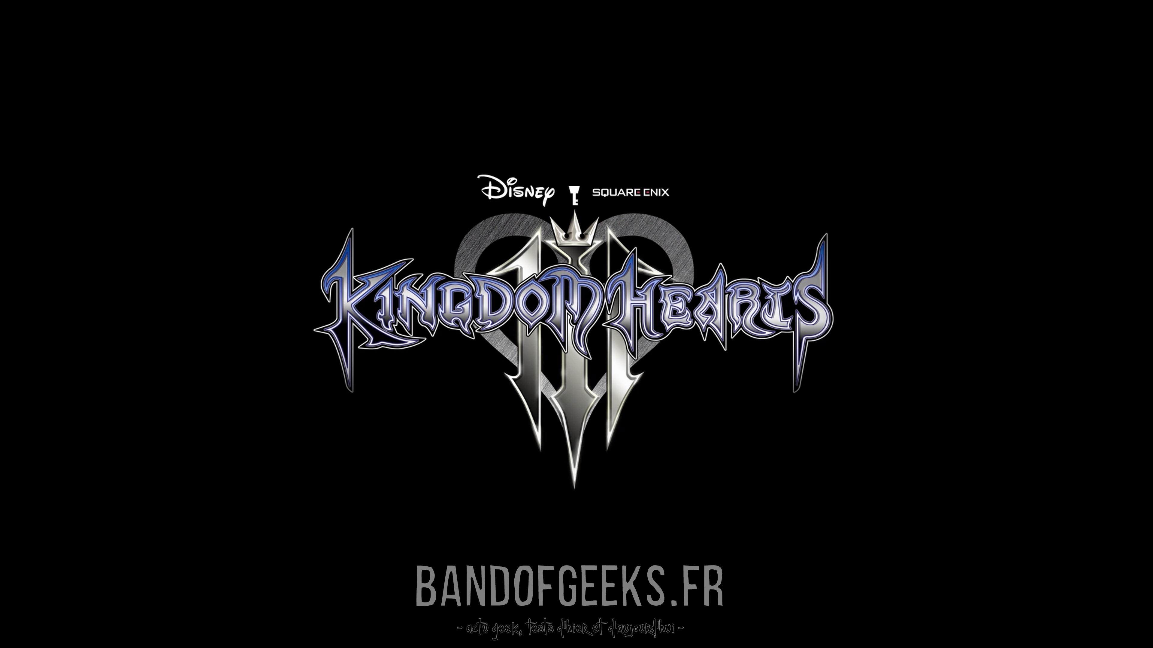 Logo Kingdom Hearts III sur fond noir